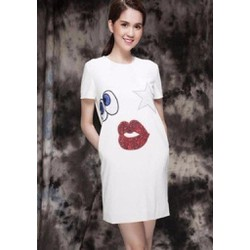 Hàng thiết kế - Đầm trắng họa tiết dễ thương Ngọc Trinh D204