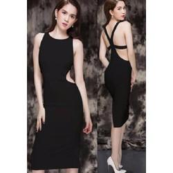 Đầm body khoét eo đan dây lưng sexy Ngọc Trinh D201