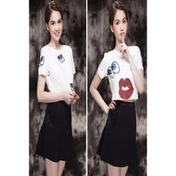 Set Bộ áo họa tiết shy girl chân váy xòe Ngọc Trinh S047