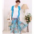 CVM008 - HÀNG NHẬP - Chân váy voan hoa xanh  - dài 90m