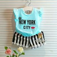 Bộ New york City vải nhập cực đẹp xinh lung linh mùa hè cho bé yêu