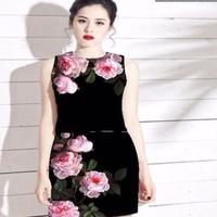 Sét áo họa tiết hoa hồng xinh và chân váy đẹp SEV58