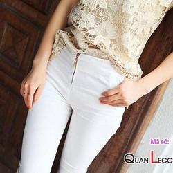 Quần nữ body ôm có dây kéo quần – màu trắng