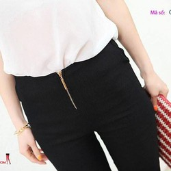 Quần nữ body ôm có dây kéo quần màu đen