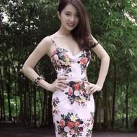 Đầm ôm body cúp ngực 2 dây in hoa tiết hoa ngũ sắc nổi bật thời trang