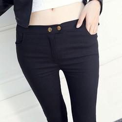 Quần nữ body ôm thon có hai nút cài màu đen