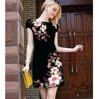 Đầm suông in hoa ngọc trinh CS246