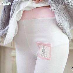 Quần nữ legging có túi hình con mèo màu trắng