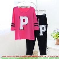 Đồ bộ ngủ chữ P form rộng màu hồng đẹp và quần dài NN262