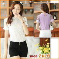 Shop Zalo Hàng LOẠI 1 -ÁO SM PHỐI REN HOA -A231