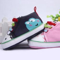 Giày tập đi bé trai, gái, thiết kế đan dây, hình ếch con đáng yêu