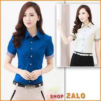Shop Zalo- Hàng cao cấp - Áo SM PHỐI TAY CARÔ -A527A