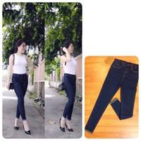 Quần jeans 2 da lưng cao lật viền _ hàng cao cấp