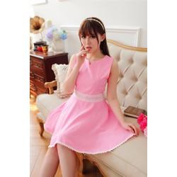 Đầm xòe eo viền ren màu hồng, tím, xanh mint