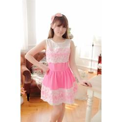 Đầm xòe màu hồng viền ren