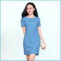 Đầm suông nơ có tay xanh- blue