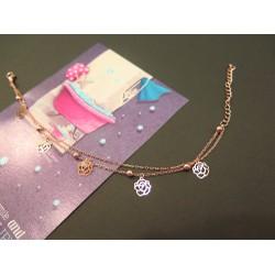 Lắc tay hoa hồng nhỏ mạ vàng 14k - VT020
