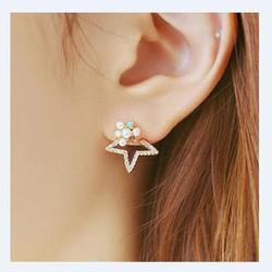 Bông tai nửa ngôi sao đính hạt ngọc nhi