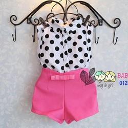 Bg059 Set áo sơ mi chấm bi quần hồng lưng cao