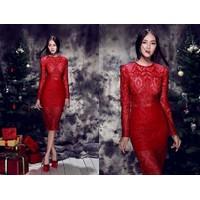 Đầm ren tay dài giống Linh Chi