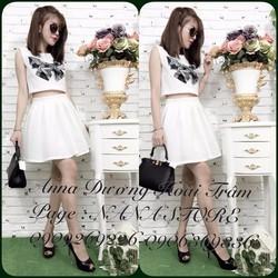 hotgirl  335 trắng set áo váy in nơ cao cấp