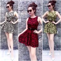 Đầm họa tiết hoa hồng kèm belt Ngoc Lang Phuong