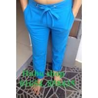 Quần đũi nam linen xanh biển