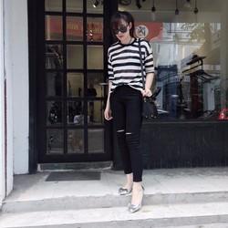 jean dài 91 màu đen rách gối
