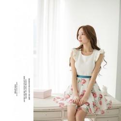 Hình thật - Đầm xòe cánh tiên chân váy hoa - DV2397