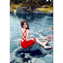 Đầm đỏ hở lưng caro Ngọc Trinh D209