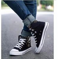 Giày nam bata vải jean cổ cao in chữ còn đen