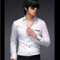 Aó sơ mi nam màu trắng vải đẹp viền đỏ đen from body trẻ trung