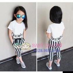 bg061 set áo croptop trắng + quần sọc lửng