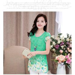 Áo chiffon Hàn Quốc họa tiết YW481