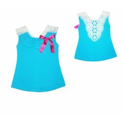 Đầm cổ ren duyên dáng - màu xanh