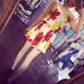 Đầm xòe voan 2 dây họa tiết hoa Cánh Bướm