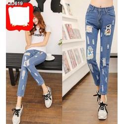 Quần jeans nữ rách mickey Mã: QD619