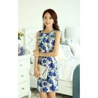 Hình sp thật - Đầm công sở họa tiết hoa xanh dương - DV2401