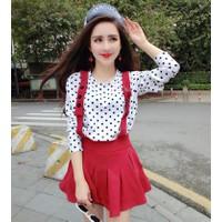 Áo váy yếm xòe chấm bi Mã: AV816 - TRẮNG