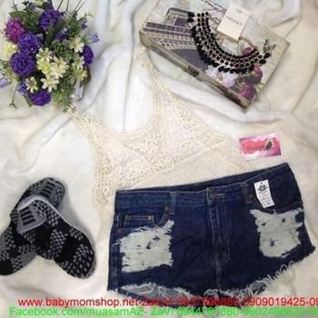 Quần jean ngắn wash trắng thời trang hè cá tính QS36