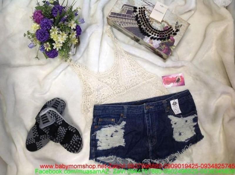Quần jean ngắn wash trắng thời trang hè cá tính QS36 1