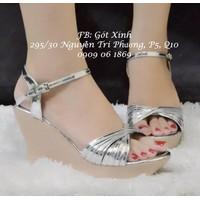 Giày đế xuồng đan dây chéo màu bạc-GX211