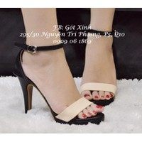 Giày cao gót 12p quai ngang phối màu kem-GX207