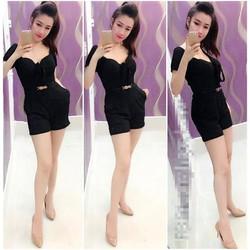 Jum short trể vai cột nơ kèm belt giống Ngoc Lang Phuong - JUM539