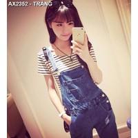 Áo thun nữ crop top sọc ngang Mã: AX2352 - TRẮNG