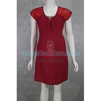 Đầm bầu cổ tròn - dây kim loại - tay hoa hồng - voan 2 lớp