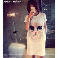 Áo thun form dài hình con mèo Mã: AD806 - TRẮNG