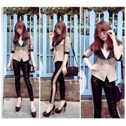 Set nguyên bộ áo vest quần dài da giống Suri - SET629