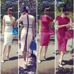 Đầm trắng viền đen dây kéo sau giống ngọc trinh