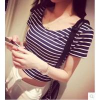 áo thun nữ crop top sọc ngang Mã: AX2352 - XANH